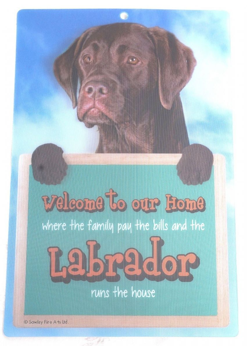 CHOCOLATE LABRADOR 3D WELCOME SIGN STUNNING EYE CATCHING 23CM X 15CM DOG SIGN
